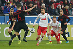 30.11.2019, RheinEnergieStadion, Koeln, GER, 1. FBL, 1.FC Koeln vs. FC Augsburg,<br />  <br /> DFL regulations prohibit any use of photographs as image sequences and/or quasi-video<br /> <br /> im Bild / picture shows: <br /> Dominick Drexler (FC Koeln #24), im Zweikampf gegen  Jeffrey Gouweleeuw (FC Augsburg #6),  <br /> <br /> Foto © nordphoto / Meuter
