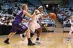 21 December 2013: North Carolina's Brittany Rountree (11) and High Point's Teddy Vincent (23). The University of North Carolina Tar Heels played the High Point University Panthers in an NCAA Division I women's basketball game at Carmichael Arena in Chapel Hill, North Carolina. UNC won the game 103-71.