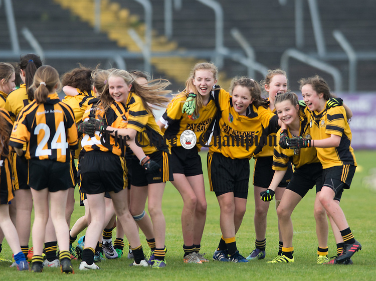 Ballyea girls celebrate their win over Knockanean at the Cumann na mBunscoil Finals at Cusack Park. Photograph by John Kelly.