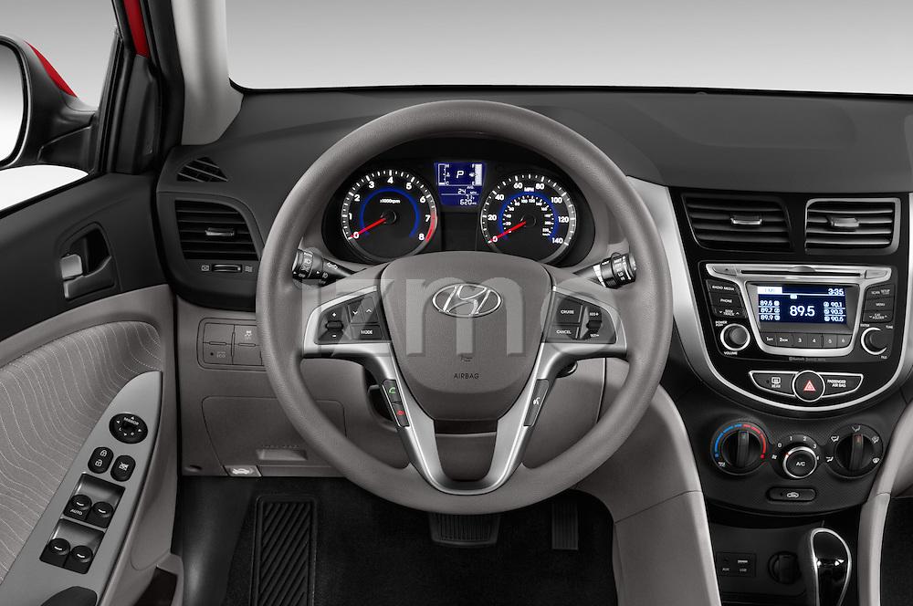 Car pictures of steering wheel view of a 2015 Hyundai Accent GLS 4-Door 6-Speed Automatic 2 Door Sedan Steering Wheel