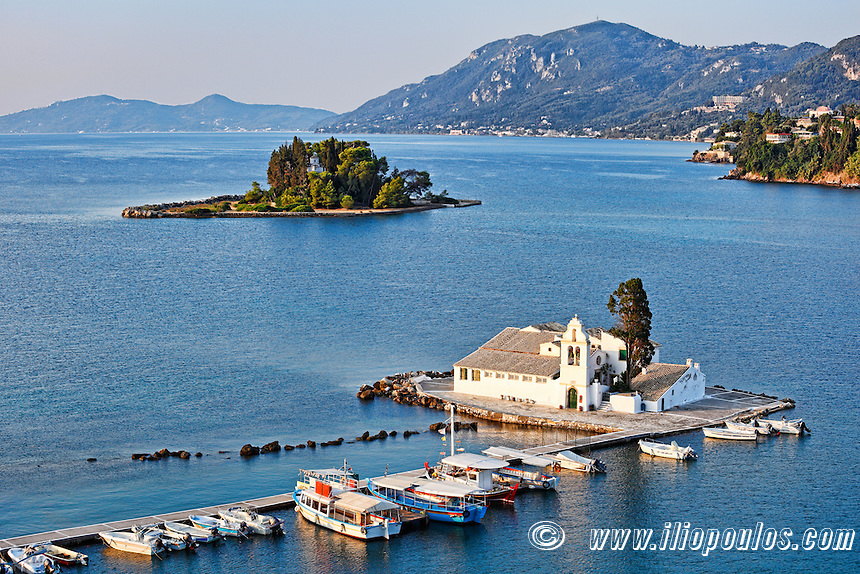 Panagia Vlacherna and mouse island at Corfu, Greece