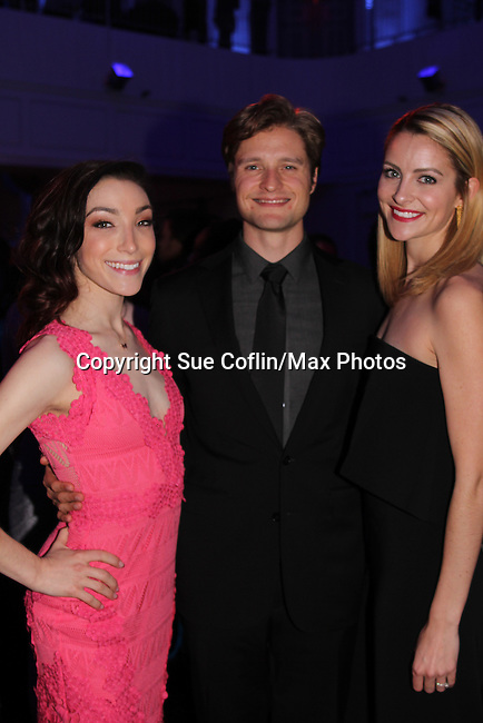 Meryl Davis & Charlie White & Tanith Belbin - The 11th Annual Skating with the Stars Gala - a benefit gala for Figure Skating in Harlem - honoring Meryl Davis & Charlie White (Olympic Ice Dance Champions and Meryl winner on Dancing with the Stars) and presented award by Tamron Hall on April 11, 2016 on Park Avenue in New York City, New York with many Olympic Skaters and Celebrities. (Photo by Sue Coflin/Max Photos)