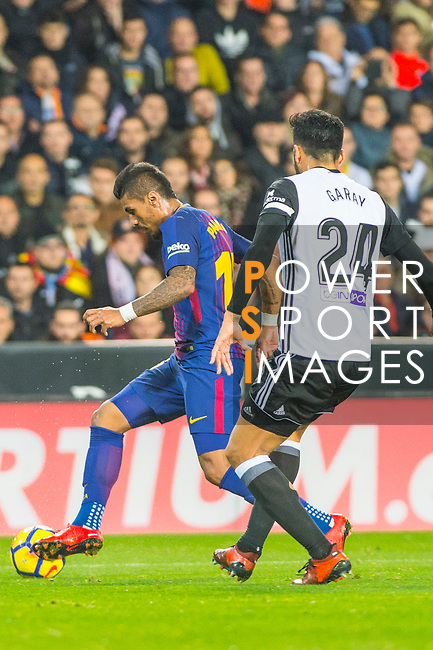 Jose Paulo Bezerra Maciel Junior, Paulinho, of FC Barcelona runs with the ball during the La Liga 2017-18 match between Valencia CF and FC Barcelona at Estadio de Mestalla on November 26 2017 in Valencia, Spain. Photo by Maria Jose Segovia Carmona / Power Sport Images