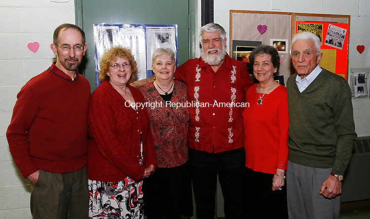LITCHFIELD, CT, 02/14/08- 021409BZ23- From left- Richard and Judith Palinkas, of West Hartford, Susan and Gerry White, of Watertown, and Sarah and Peter Torselli, of Bethlehem, at a Valentine's Day Dance at the Lourde's in Litchfield Saturday night.<br /> Jamison C. Bazinet Republican-American