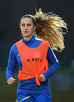 20191221 - WOLUWE: Gent's Nele Parijs warms up during the Belgian Women's National Division 1 match between FC Femina WS Woluwe A and KAA Gent B on 21st December 2019 at State Fallon, Woluwe, Belgium. PHOTO: SPORTPIX.BE | SEVIL OKTEM