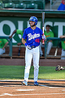 Cody Thomas (46) of the Ogden Raptors at bat against the Great Falls Voyagers in Pioneer League action at Lindquist Field on August 16, 2016 in Ogden, Utah. Ogden defeated Great Falls 2-1. (Stephen Smith/Four Seam Images)