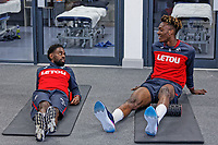 (L-R) Nathan Dyer and Tammy Abraham exercise in the gym during the Swansea City Training at The Fairwood Training Ground, Swansea, Wales, UK. Thursday 19 April 2018