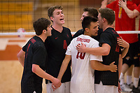 STANFORD, CA - January 2, 2018: JP Reilly, Eric Beatty, Evan Enriques Eli Wopat, Jacob Thoenen at Burnham Pavilion. The Stanford Cardinal defeated the Calgary Dinos 3-1.