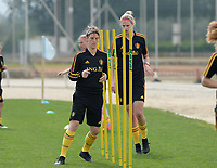 20180304 - LARNACA , CYPRUS :  Belgian Aline Zeler (left) pictured during a Matchday -1 training from The Belgian Red Flames prior to their game against Austria , on Sunday 4 March 2018 at the Alpha Sports Grounds in Larnaca , Cyprus . This will be the third game in group B for Belgium during the Cyprus Womens Cup , a prestigious women soccer tournament as a preparation on the World Cup 2019 qualification duels. PHOTO SPORTPIX.BE | DAVID CATRY
