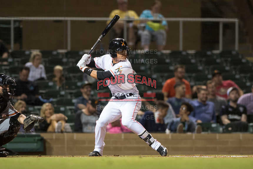 Salt River Rafters shortstop Bryson Brigman (15), of the Miami Marlins organization, at bat during an Arizona Fall League game against the Scottsdale Scorpions at Salt River Fields at Talking Stick on October 11, 2018 in Scottsdale, Arizona. Salt River defeated Scottsdale 7-6. (Zachary Lucy/Four Seam Images)