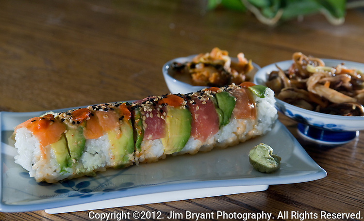 Salmon, tuna and avocado roll with Octopus salad and kimchi. ©2012. Jim Bryant Photo. All rights reserved ©2012 Jim Bryant Photo.