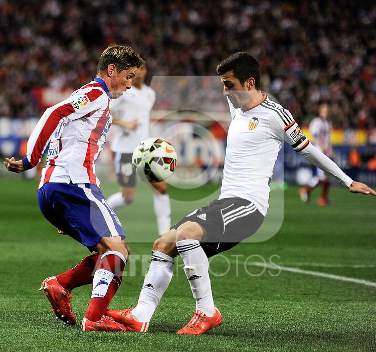 Atletico de Madrid´s Fernando Torres and Valencia CF´s Jose Gaya during 2014-15 La Liga match between Atletico de Madrid and Valencia CF at Vicente Calderon stadium in Madrid, Spain. March 08, 2015. (ALTERPHOTOS/Luis Fernandez)