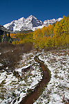 Hiking trail at Maroon Bells and Maroon Lake, Aspen, Colorado, autumn .  John leads hiking and photo tours throughout Colorado. .  John leads hikes and private photo tours in Boulder and throughout Colorado. Year-round.