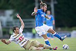 St Johnstone v FC Luzern...24.07.14  Europa League 2nd Round Qualifier<br /> Kaja Rogulj tackles Stevie May<br /> Picture by Graeme Hart.<br /> Copyright Perthshire Picture Agency<br /> Tel: 01738 623350  Mobile: 07990 594431