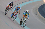 September 17, 2015 - Colorado Springs, Colorado, U.S. - UC-San Diego's, Todd Woodland (l), Fort Lewis College's, Emanuel Gagne (center), and Midwestern State's, Joshua Buchel (r), compete in a points race qualifier during the USA Cycling Collegiate Track National Championships, United States Olympic Training Center Velodrome, Colorado Springs, Colorado.