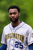 Burlington Bees outfielder Jo Adell (25) during a Midwest League game against the Wisconsin Timber Rattlers on May 19, 2018 at Fox Cities Stadium in Appleton, Wisconsin. Wisconsin defeated Burlington 1-0. (Brad Krause/Four Seam Images)