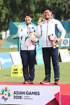(L-R) <br />  Tomomi Sugimoto, <br /> Takaharu Furukawa (JPN), <br /> AUGUST 27, 2018 - Archery : <br /> Recurve Mixed Team Medal ceremony <br /> at Gelora Bung Karno Archery Field <br /> during the 2018 Jakarta Palembang Asian Games <br /> in Jakarta, Indonesia. <br /> (Photo by Naoki Morita/AFLO SPORT)