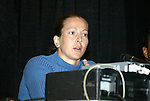 "17 January 2004: Boston Breakers goalkeeper and WUSA founding player Tracy Ducar during a panel discussion titled ""Can Women's Professional Soccer Survive in America"" at the Charlotte Convention Center in Charlotte, NC as part of the annual National Soccer Coaches Association of America convention.."
