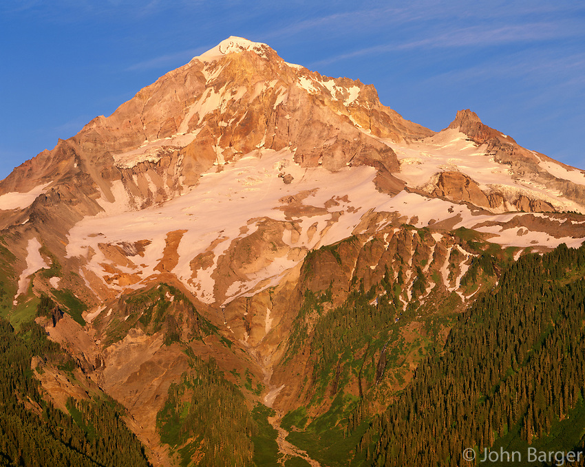 ORCAN_079 - USA, Oregon, Mount Hood National Forest, Mount Hood Wilderness, West side of Mount Hood in late evening light.