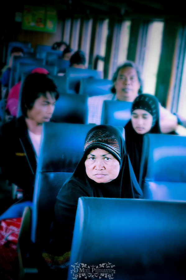 thailand, asia, transportation, people, railroad, train, culture mix, 2nd 3rd class, islamic, workers, natives, travel, window, intrigue, documentary, creative, artistic