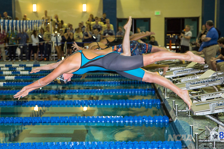 BIRMINGHAM, AL - MARCH 11: Swimmers just off the starting block for the Women's 200 Yard Breaststroke during the Division II Men's and Women's Swimming & Diving Championship held at the Birmingham CrossPlex on March 11, 2017 in Birmingham, Alabama. (Photo by Matt Marriott/NCAA Photos via Getty Images)