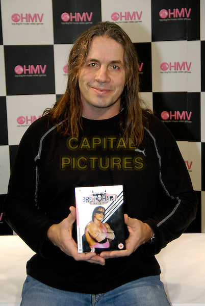 "BRET ""HITMAN"" HART.WWE wrestling legend launches DVD box set at HMV, 150 Oxford Street, London, UK. .January 26th, 2006.Ref: HT.half length black top.www.capitalpictures.com.sales@capitalpictures.com.©Capital Pictures"