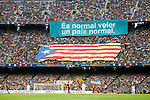 Independence nationalist vindication 'Es normal voler un pais normal - Is normal to want a normal country' during FC Barcelona against Real Madrid La Liga match.October 26,2013. (ALTERPHOTOS/Acero)