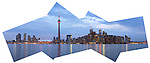 Original panoramic view of Toronto waterfront skyline after sunset composed from fragments. Toronto, Ontario, Canada.