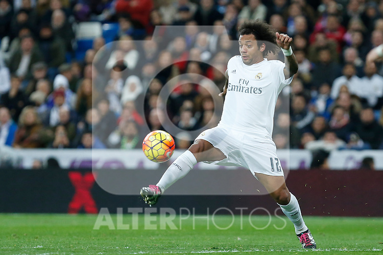 Real Madrid´s Marcelo Vieira during 2015/16 La Liga match between Real Madrid and Deportivo de la Coruna at Santiago Bernabeu stadium in Madrid, Spain. January 09, 2015. (ALTERPHOTOS/Victor Blanco)