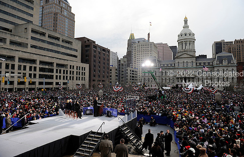 Baltimore, MD - January 17, 2009 -- United States President-elect Barack Obama delivers remarks during a rally at War Memorial Plaza, during a stop on their Whistle Stop Train Tour, in Baltimore, Maryland on Saturday, January 17, 2009. The ceremonial trip will carry President-elect Obama, Vice President-elect Biden and their families to Washington for their inaugurations with additional events in Philadelphia, Wilmington and Baltimore. Obama will be sworn in as the 44th President of the United States on January 20, 2009..Credit: Kevin Dietsch - Pool via CNP