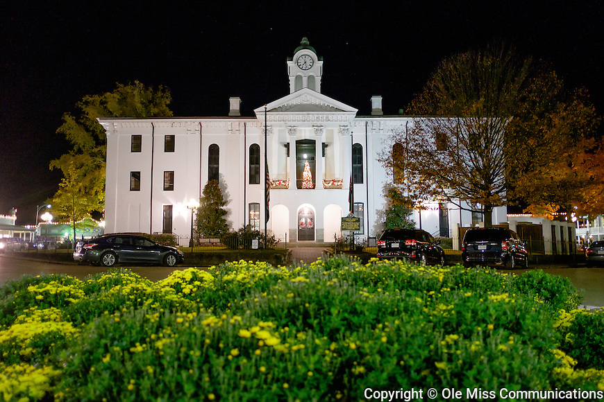 The Lafayette County Courthouse, the hub of the Oxford Square, is decorated for the holidays. Photo by Robert Jordan/Ole Miss Communications