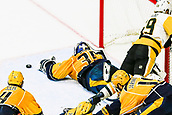 June 5th 2017, Nashiville, TN, USA;  Nashville Predators goalie Pekka Rinne (35) dives to make save on secondary shot during game 4 of the 2017 NHL Stanley Cup Finals between the Pittsburgh Penguins and Nashville Predators