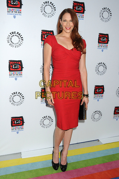 """Amanda Righetti.""""Television: Out Of The Box"""" Museum Exhibit created by Warner Bros. Television Group held at The Paley Center, Beverly Hills, California, USA..April 12th, 2012.full length black clutch bag red dress  .CAP/ADM/BP.©Byron Purvis/AdMedia/Capital Pictures."""