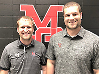 RICK PECK/SPECIAL TO MCDONALD COUNTY PRESS Brandon Joines (right) takes over as head coach for the McDonald County Mustang boys' basketball team for the 2019-2020 season. He will be assisted by Sean Crane, who is also new to the Mustangs.