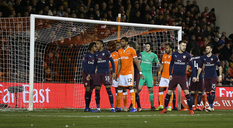 Blackpool players jostle for position with the Arsenal defence as they wait for corner kick <br /> <br /> Photographer Stephen White/CameraSport<br /> <br /> Emirates FA Cup Third Round - Blackpool v Arsenal - Saturday 5th January 2019 - Bloomfield Road - Blackpool<br />  <br /> World Copyright © 2019 CameraSport. All rights reserved. 43 Linden Ave. Countesthorpe. Leicester. England. LE8 5PG - Tel: +44 (0) 116 277 4147 - admin@camerasport.com - www.camerasport.com