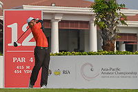 Muhammad Afif FATHI (MAS) watches his tee shot on 12 during Rd 2 of the Asia-Pacific Amateur Championship, Sentosa Golf Club, Singapore. 10/5/2018.<br /> Picture: Golffile | Ken Murray<br /> <br /> <br /> All photo usage must carry mandatory copyright credit (© Golffile | Ken Murray)