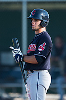 AZL Indians 1 designated hitter Bryan Lavastida (11) at bat during an Arizona League game against the AZL Cubs 1 at Sloan Park on August 27, 2018 in Mesa, Arizona. The AZL Cubs 1 defeated the AZL Indians 1 by a score of 3-2. (Zachary Lucy/Four Seam Images)
