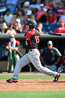 Tampa Spartans outfielder Brett Jones (15) at bat during an exhibition game against the Philadelphia Phillies on March 1, 2015 at Bright House Field in Clearwater, Florida.  Tampa defeated Philadelphia 6-2.  (Mike Janes/Four Seam Images)