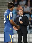 Getafe's coach Fran Escriba with his player Damian Suarez during La Liga match.September 18,2015. (ALTERPHOTOS/Acero)