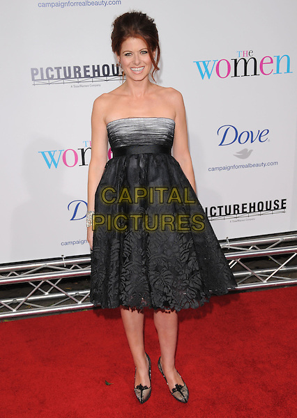 "DEBRA MESSING .The Picturehouse Premiere of ""The Women"" held at The Mann Village theatre in Westwood, California, USA..September 4th, 2008.full length black grey gray lace strapless dress                                         .CAP/DVS.©Debbie VanStory/Capital Pictures."
