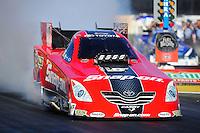 Feb. 9, 2012; Pomona, CA, USA; NHRA funny car driver Cruz Pedregon during qualifying at the Winternationals at Auto Club Raceway at Pomona. Mandatory Credit: Mark J. Rebilas-