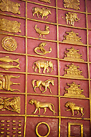 Animal symbols and engravings in Chaukhtatgyi Temple, a buddhist temple in Yangon (Rangoon), Myanmar