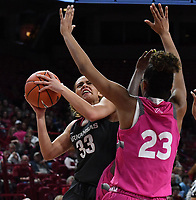 NWA Democrat-Gazette/J.T. WAMPLER Arkansas' Chelsea Dungee tries to shoot while Auburn's Crystal Primm defends Sunday Feb. 10, 2019 at Bud Walton Arena in Fayetteville. The Razorbacks lost 75-72.