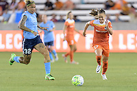 Houston, TX - Friday April 29, 2016: Andressa (17) of the Houston Dash races for a loose ball against Sky Blue FC at BBVA Compass Stadium. The Houston Dash tied Sky Blue FC 0-0.