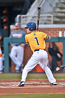University of North Carolina Greensboro (UNCG) Spartans third baseman Caleb Webster (1) awaits a pitch during a game against the Tennessee Volunteers at Lindsey Nelson Stadium on February 24, 2018 in Knoxville, Tennessee. The Volunteers defeated Spartans 11-4. (Tony Farlow/Four Seam Images)