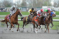 Flashy Dresser (no. 8), ridden by Luis Contreras and trained by Frederick Seitz, wins the 28th running of the Rushaway Stakes for three year olds on March 24, 2012 at Turfway Park in Florence, Kentucky.  (Bob Mayberger/Eclipse Sportswire)