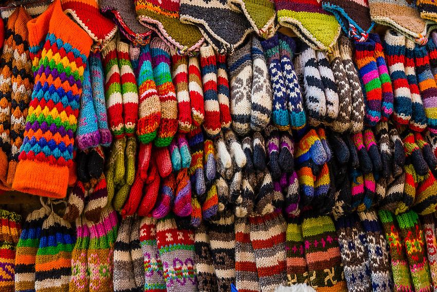 Woolen products outside a shop, Kathmandu, Nepal.