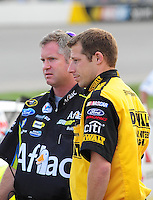 May 1, 2009; Richmond, VA, USA; NASCAR Sprint Cup Series crew chiefs Drew Blickensderfer (right) and Bob Osborne during qualifying for the Russ Friedman 400 at the Richmond International Raceway. Mandatory Credit: Mark J. Rebilas-
