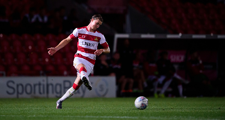 Doncaster Rovers' Ben Sheaf during the pre-match warm-up<br /> <br /> Photographer Andrew Vaughan/CameraSport<br /> <br /> EFL Leasing.com Trophy - Northern Section - Group H - Doncaster Rovers v Lincoln City - Tuesday 3rd September 2019 - Keepmoat Stadium - Doncaster<br />  <br /> World Copyright © 2018 CameraSport. All rights reserved. 43 Linden Ave. Countesthorpe. Leicester. England. LE8 5PG - Tel: +44 (0) 116 277 4147 - admin@camerasport.com - www.camerasport.com