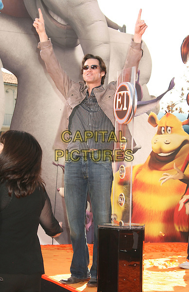 "JIM CARREY .""Horton Hears A Who"" World Premiere held at the Mann Village Theatre,.Westwood, California, USA, .08 March 2008.full length arms hands up.CAP/ADM/RE.?Russ Elliot/Admedia/Capital PIctures"